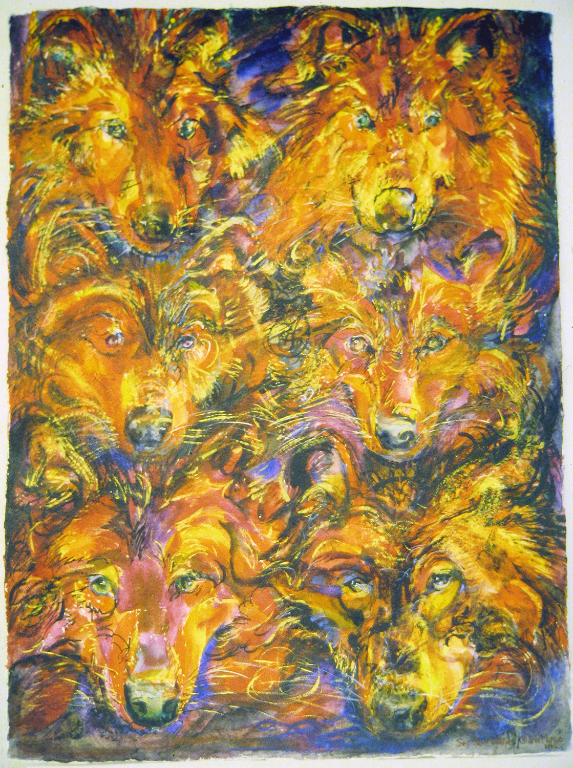 red wolves 1993 watercolour 30x22
