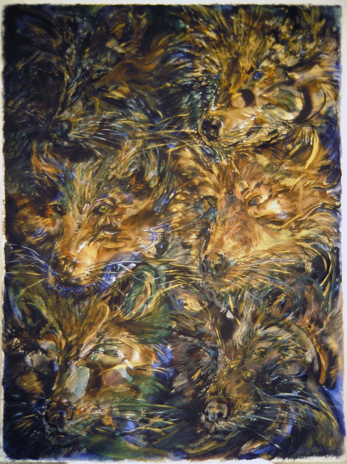 6 dark wolves 1993 watercolour 30x22
