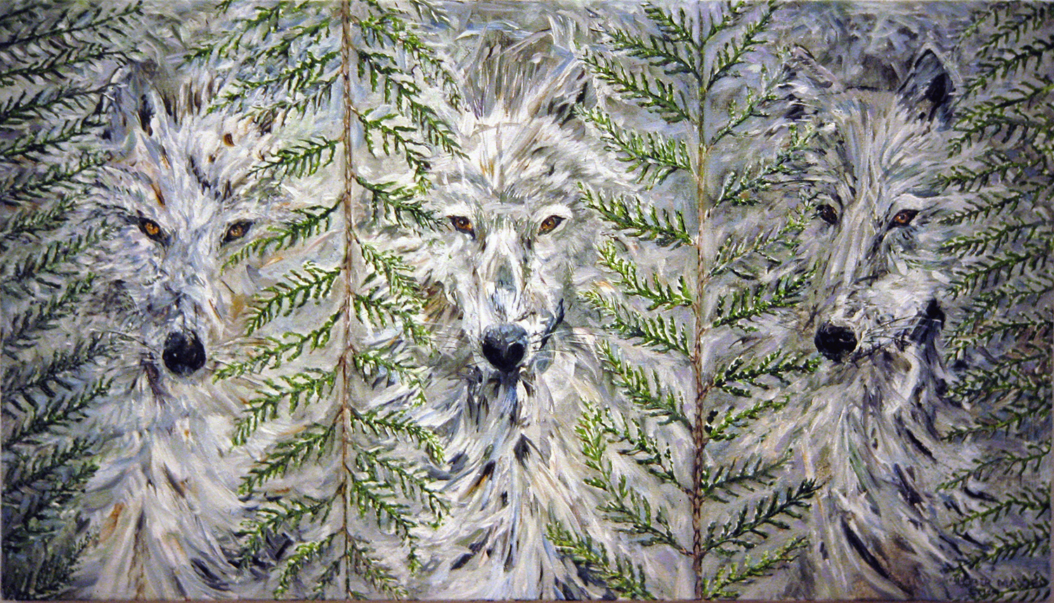 wolves with cedar 1991 acrylic 18x22