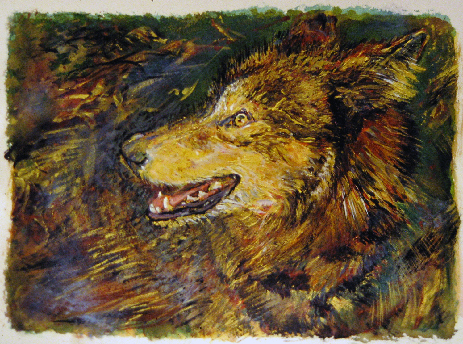 wolf portrait 1991 watercolour guache acrylic 15x22