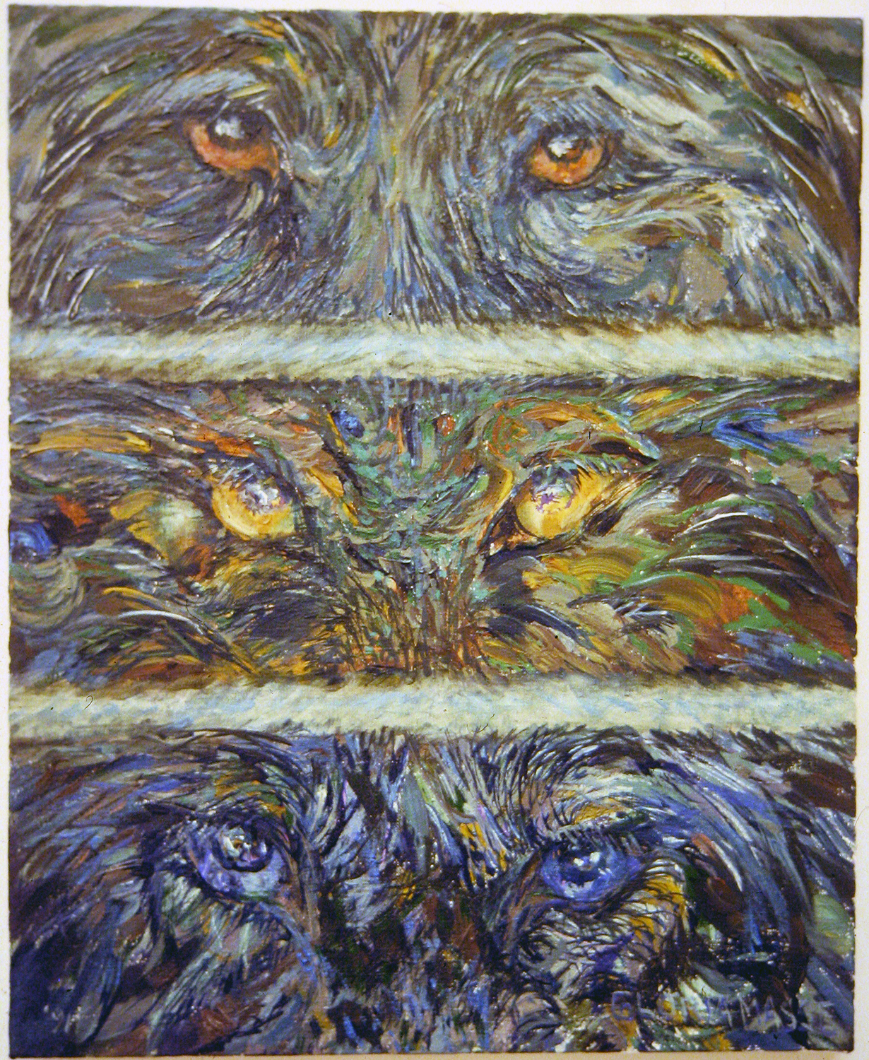 wolf eyes black 1991 acrylic 22x18