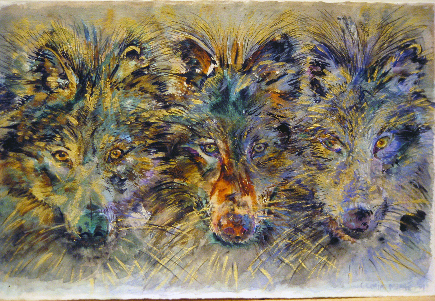 three wolves 1991 watercolour15x22