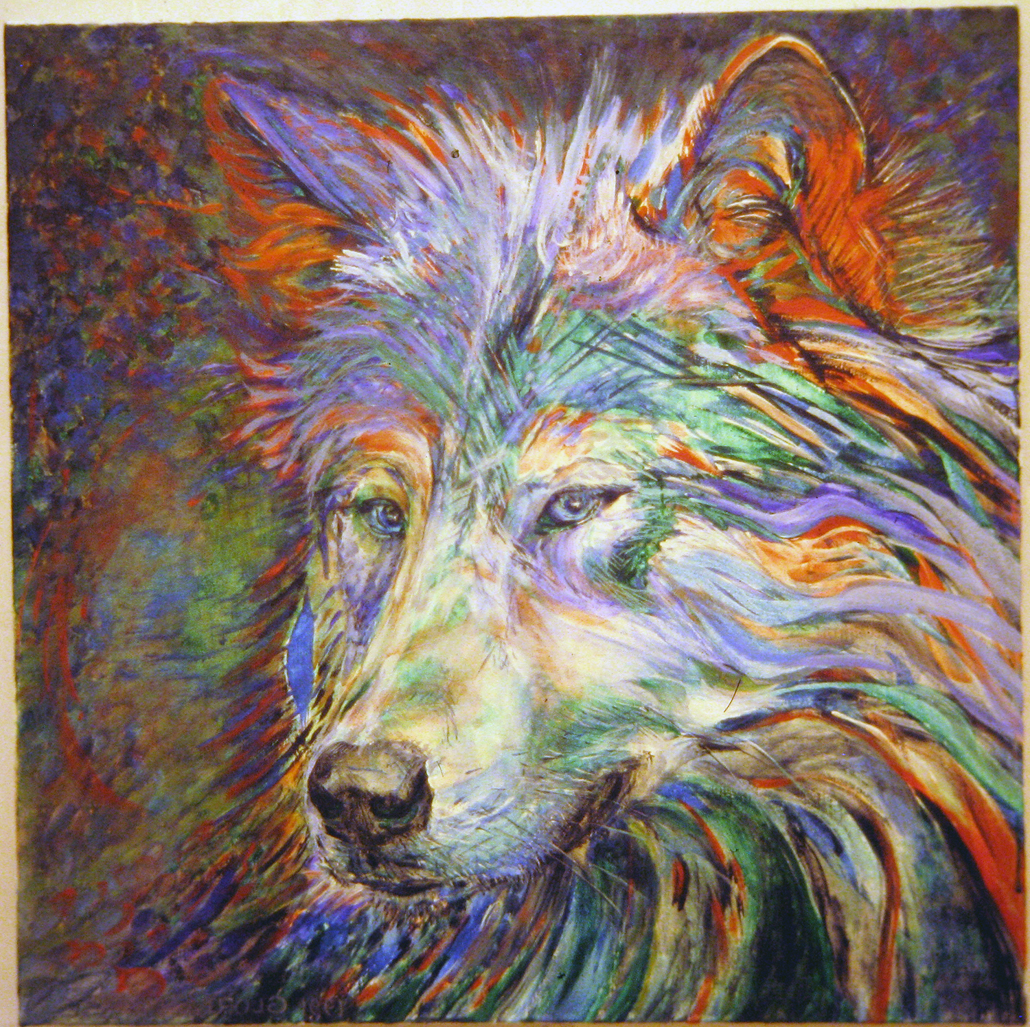 portrait of a wolf blue red green 1991 acrylic 25x25