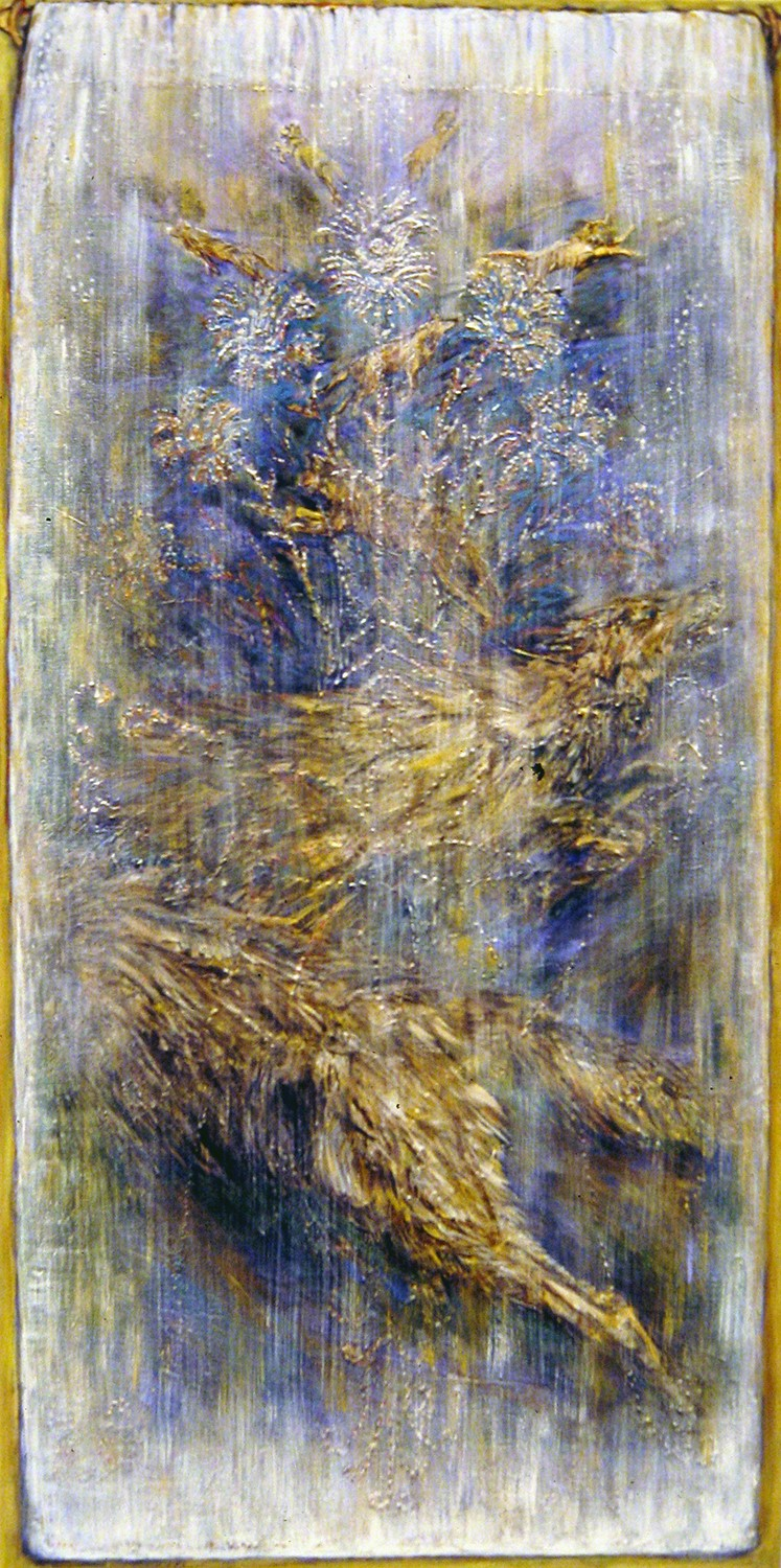on the other side of the lace curtain blue 1991 acrylic 48x24