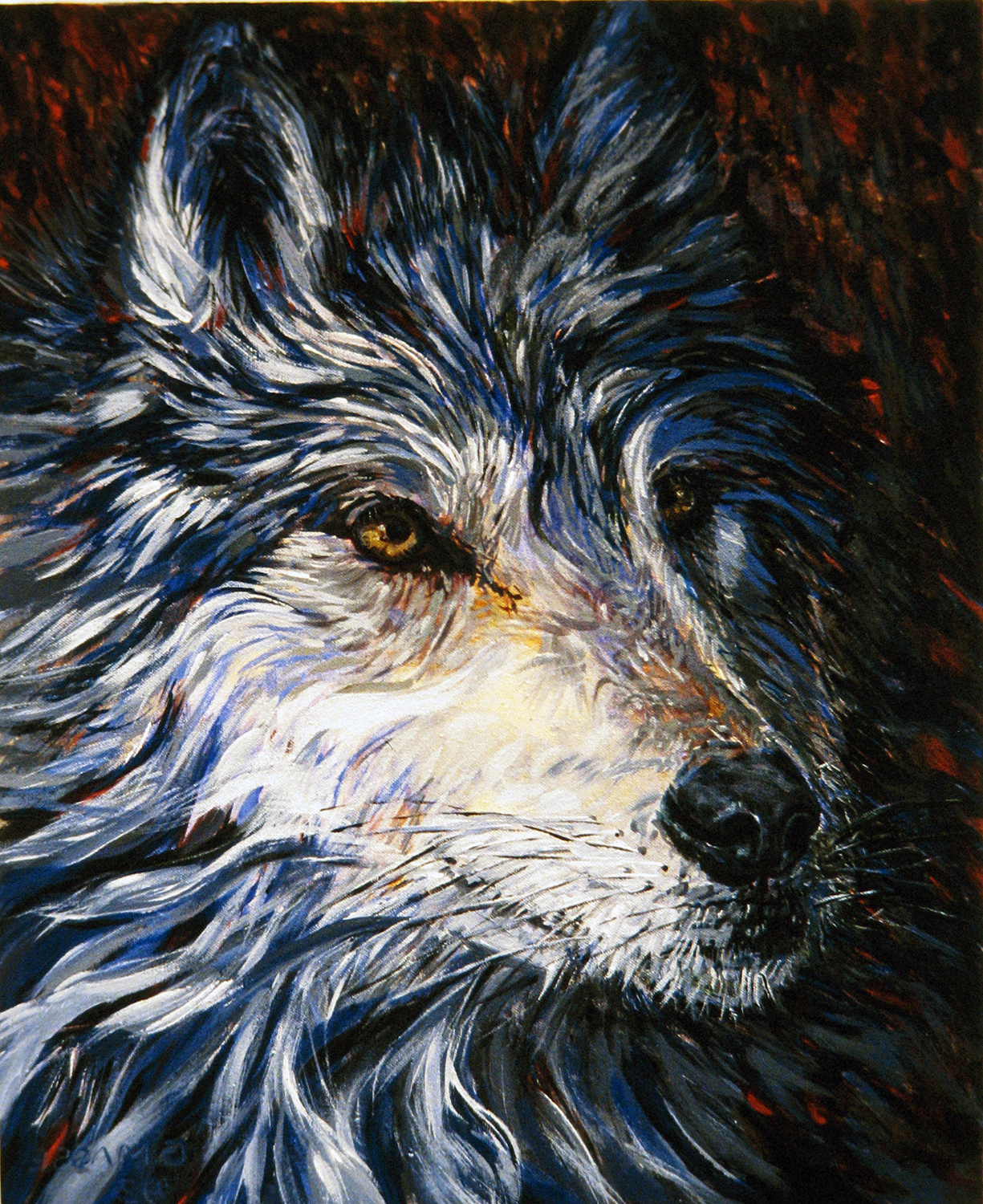 blue wolf 1991 watercolour 15x11