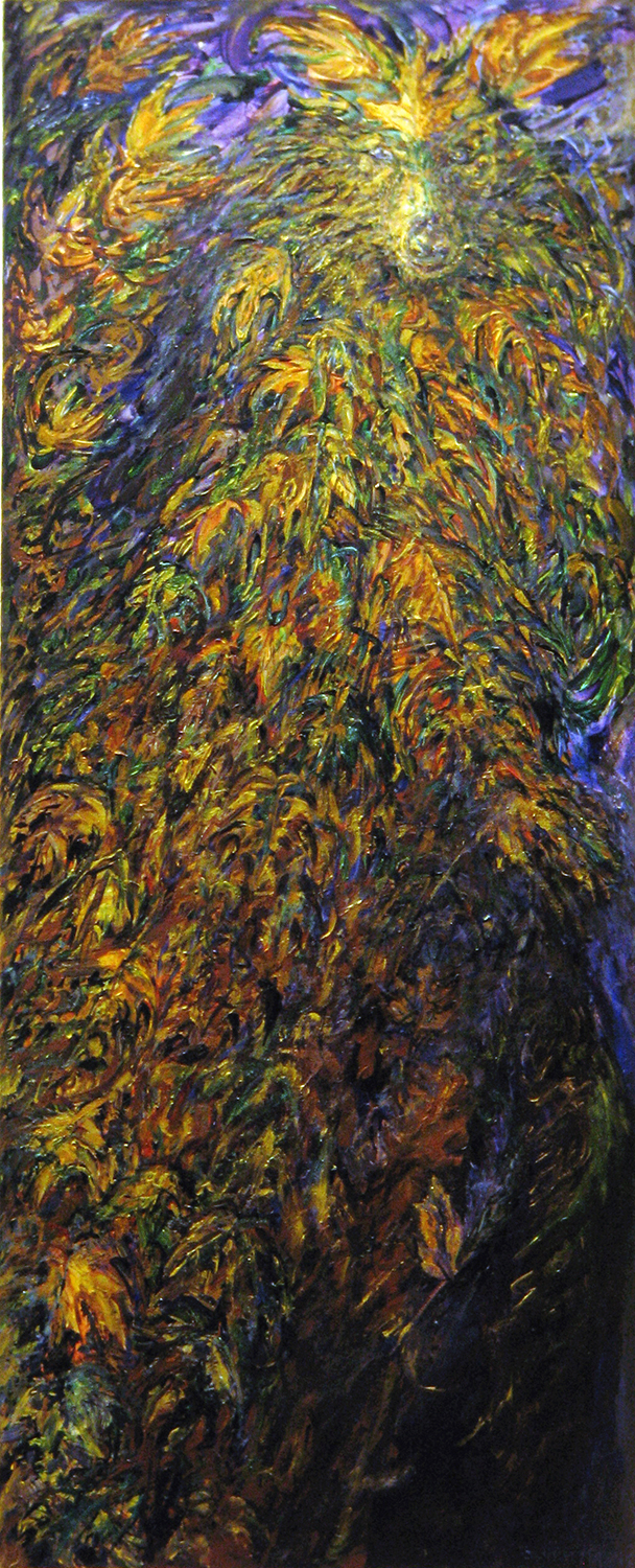 wolf of leaves 1990 acrylic 48x24