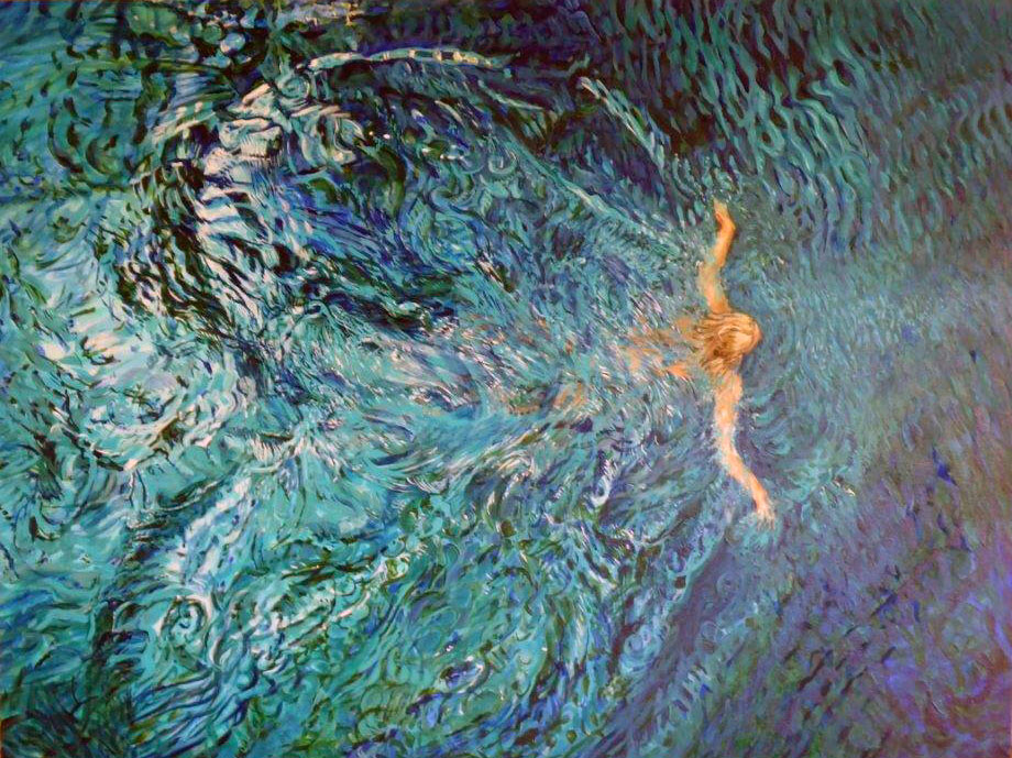 swim on smooth waters make a multitude of lines calm surface returns 2015 acrylic36x48