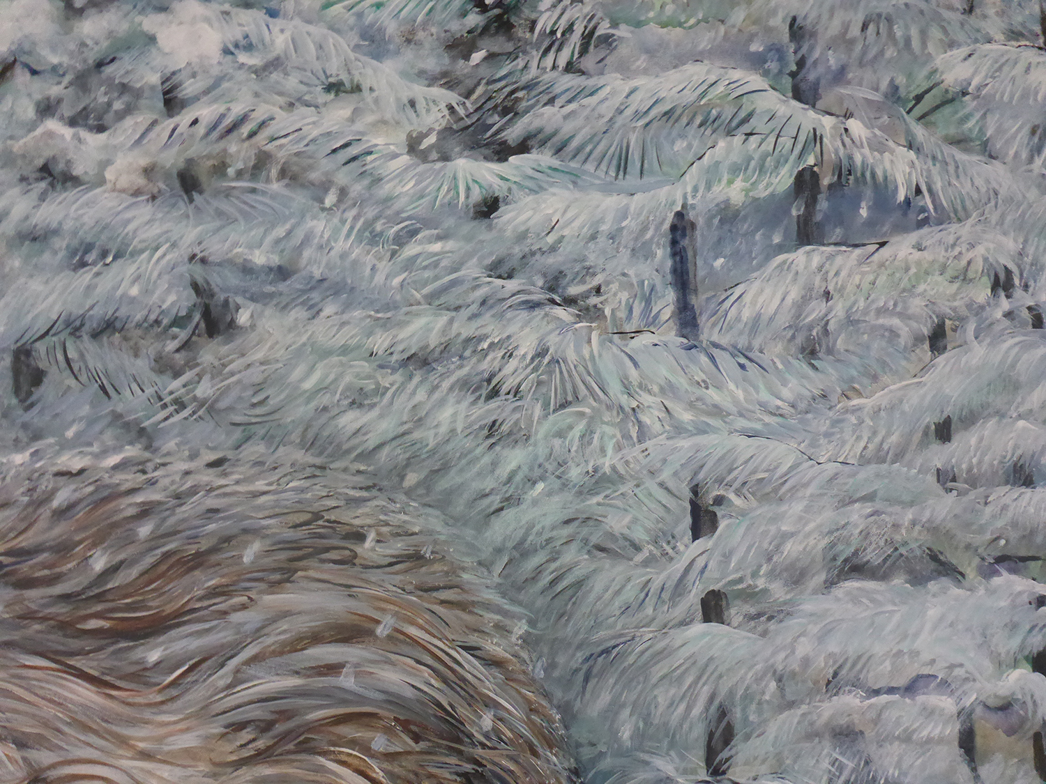 the woods, the snow, the wolf (detail 4) 2011 (enlarged 2017) acrylic on canvas 144x70