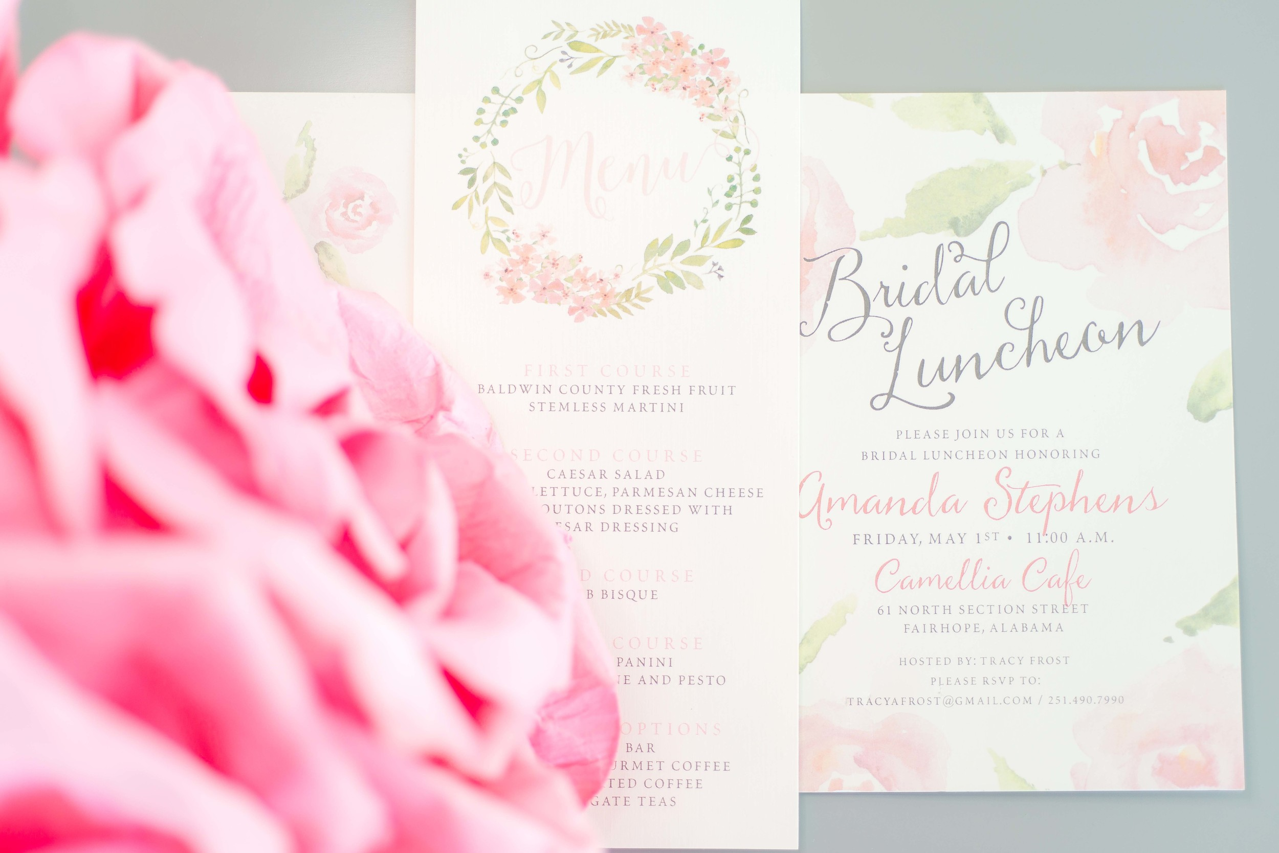 Bridesmaids Luncheon Invitation & Coordinating Menu