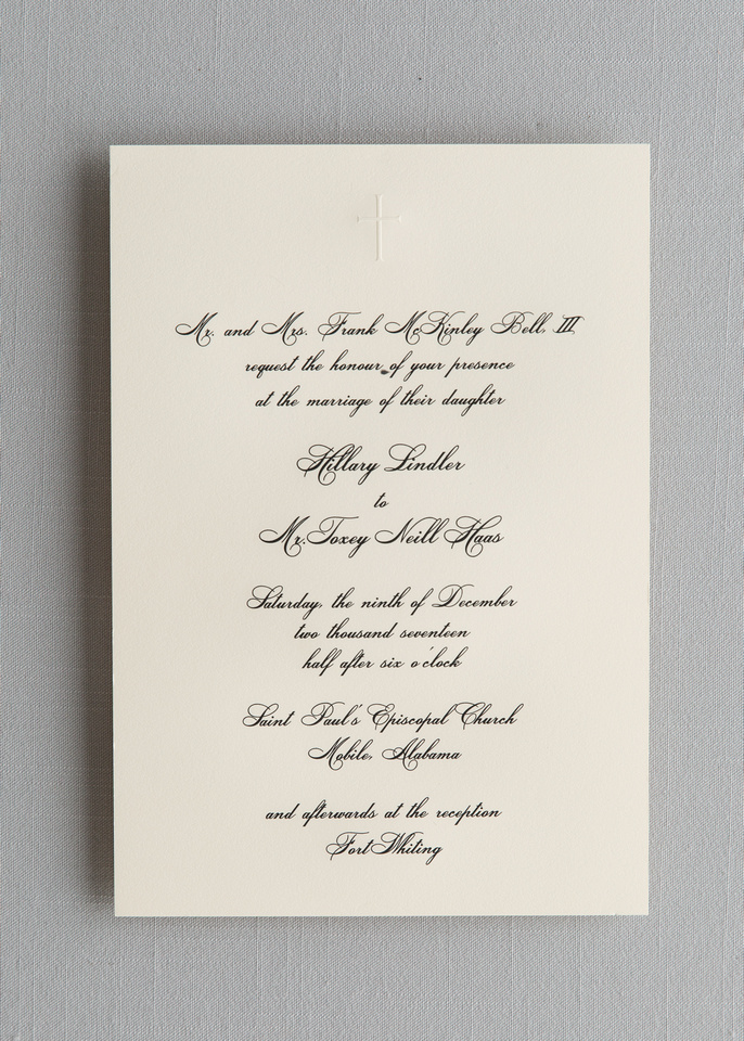 Grand Size Engraved Invitation with Embossed Cross