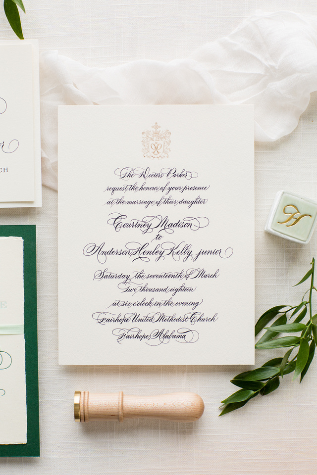Handwritten 2-color Engraved Invitation on 3-ply Cotton Paper with Bevel Edge