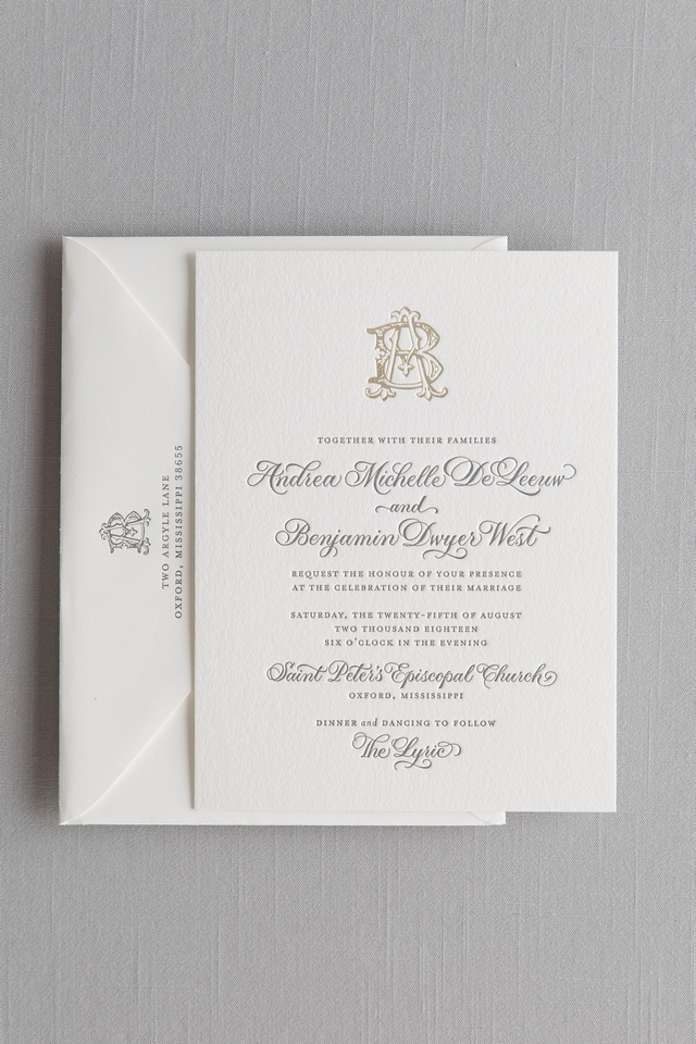 Letterpress and Foil Invitation with Spot Calligraphy on 2ply Cotton Paper