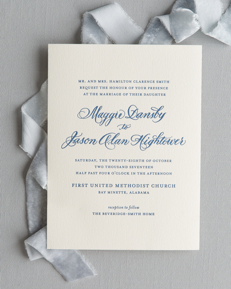 1-color Letterpress Invitation with Spot Calligraphy on 1ply Cotton Paper