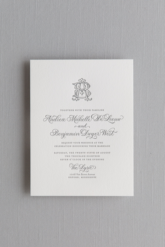 Letterpress Invitations with Spot Calligraphy on 2ply Cotton Paper