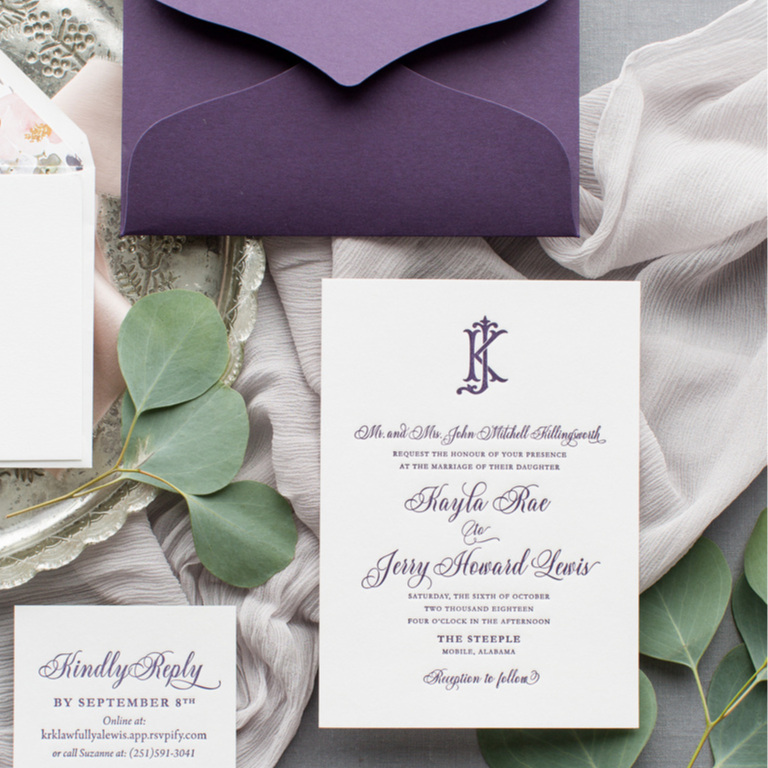 Shown: Letterpress / 1ply 5x7 Smooth Cotton paper with Lotus Inner Envelope, blank Ivory Outer Envelope and Additional Card (no envelope)  Pricing as shown, 100 pieces: $1,034 ($889 without Lotus Inner Envelope)