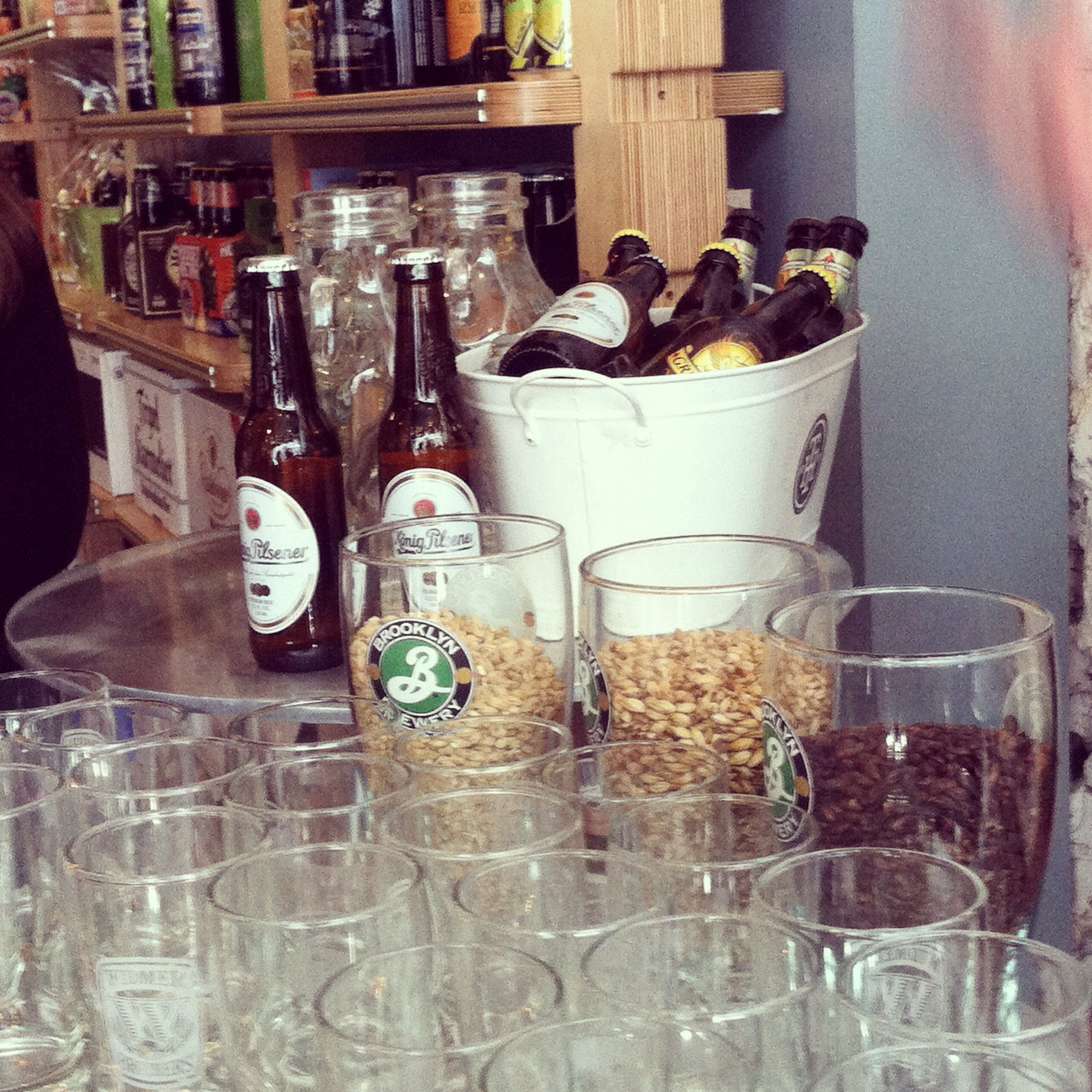 Setup for the beer class. Photo by Shana Speaks Wine