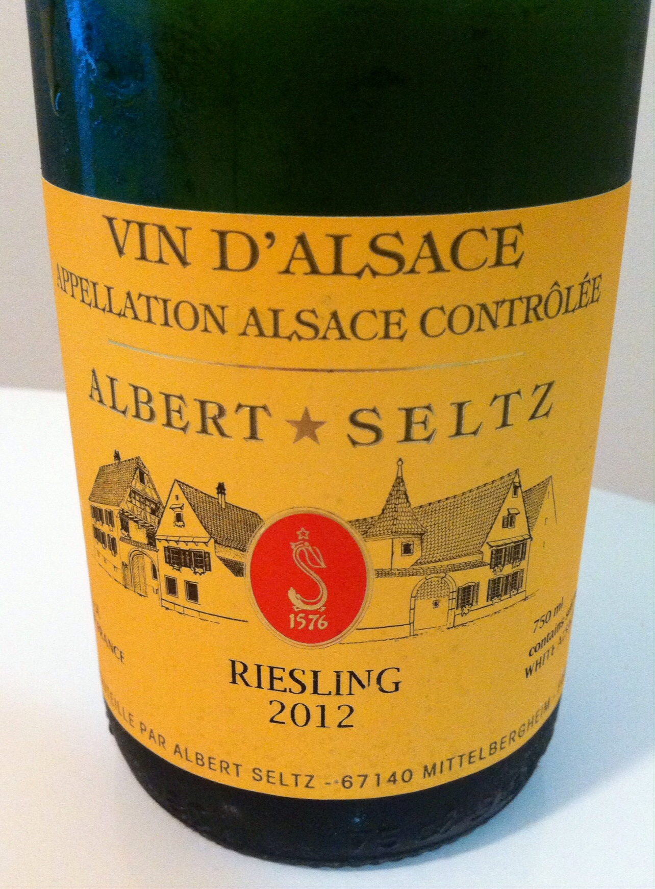 Albert Seltz, Riesling Reserve, Alsace, 2012.  Photo by Shana Sokol, Shana Speaks Wine.