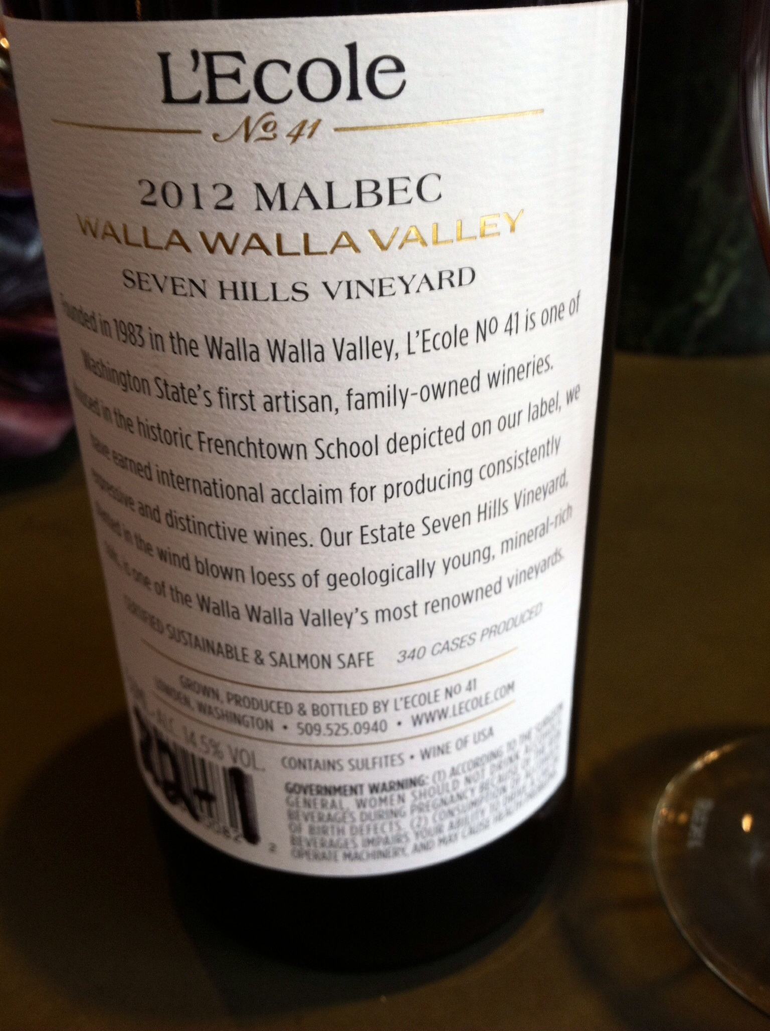 L'ecole 41 Malbec.  Photo by Shana Sokol, Shana Speaks Wine.
