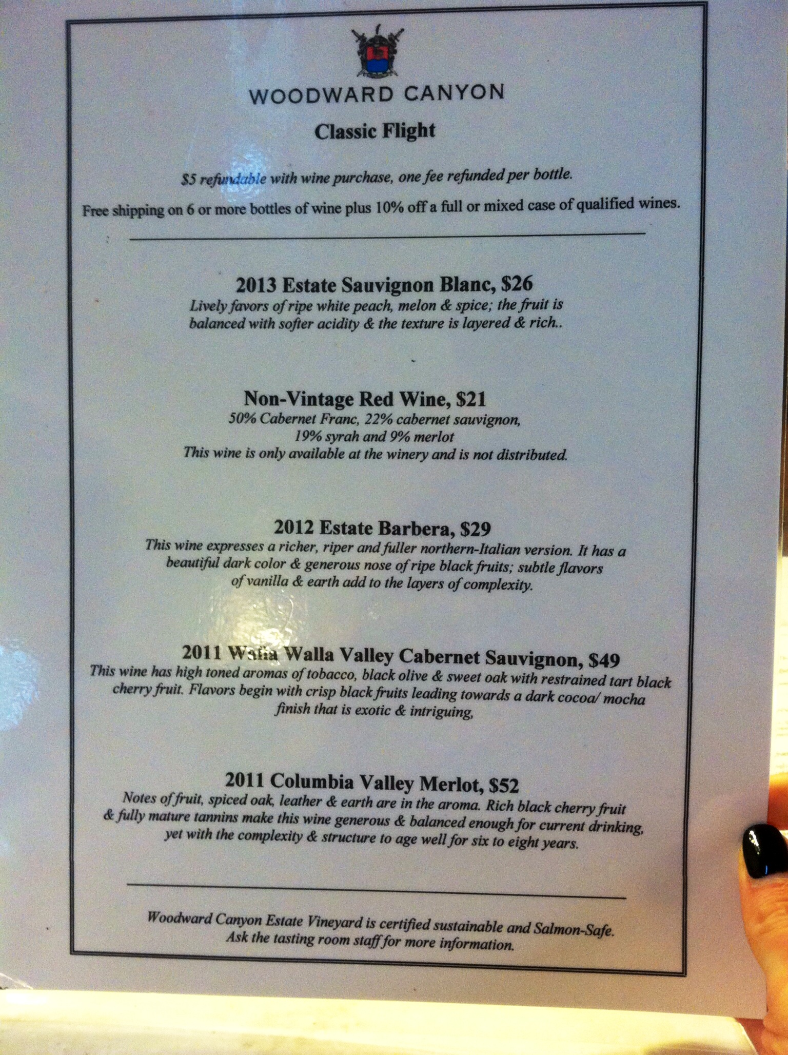 Woodward Canyon's tasting flight.  Photo by Shana Sokol, Shana Speaks Wine.