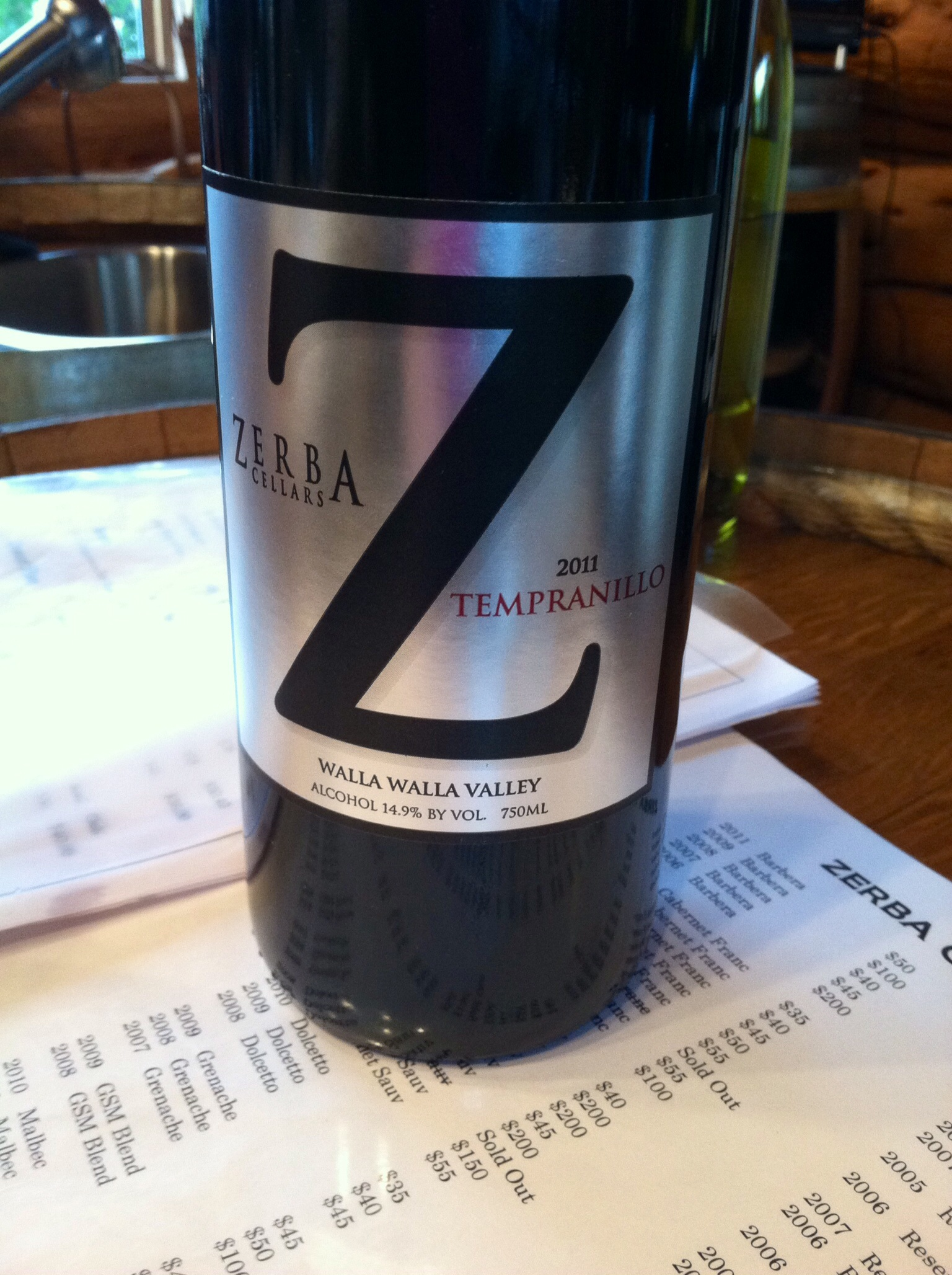 Zerba Cellars Tempranillo.  Photo by Shana Sokol, Shana Speaks WIne.