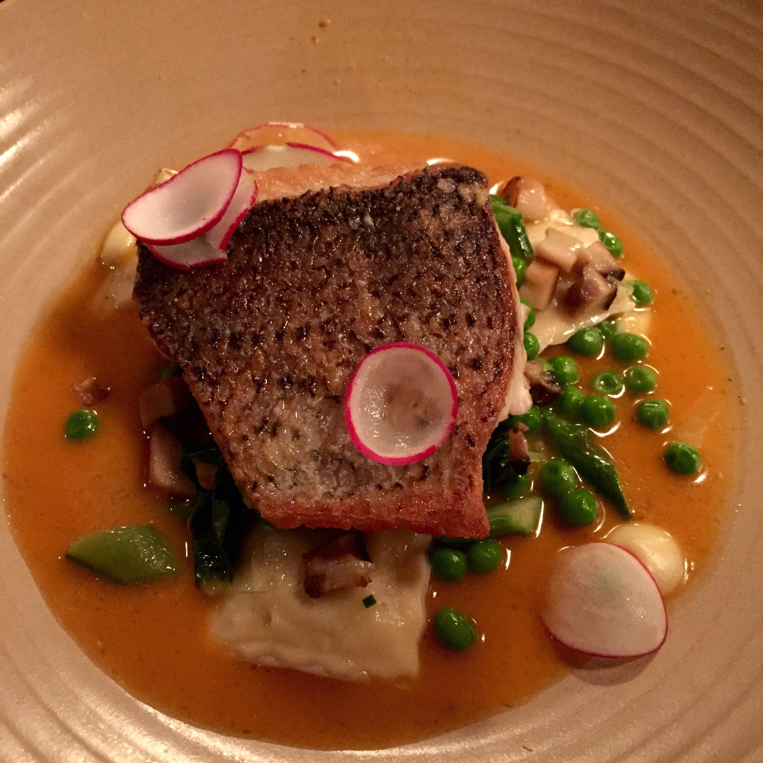 Sea bass at Stone's Throw.  Photo by Shana Sokol, Shana Speaks Wine.