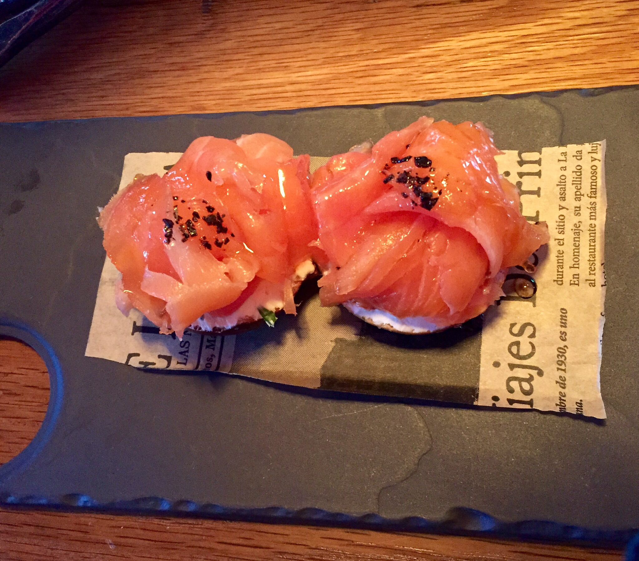 A new spin on bagels and lox at Coqueta. Photo by Shana Sokol, Shana Speaks Wine.