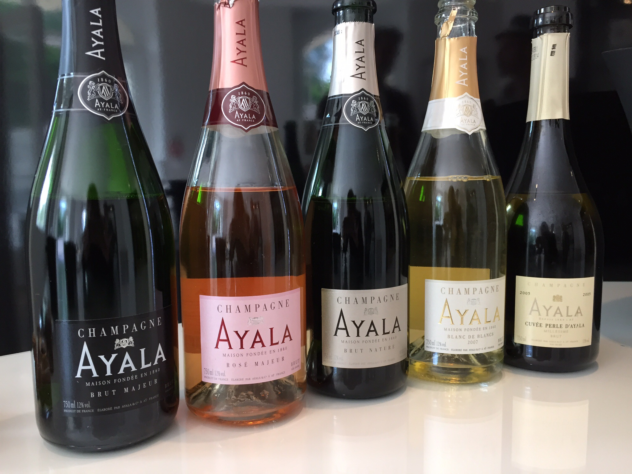 Several from Ayala's portfolio.  Photo by Shana Sokol, Shana Speaks Wine.