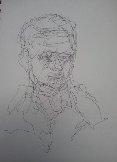 Self portrait, line drawing, A5, July 2013