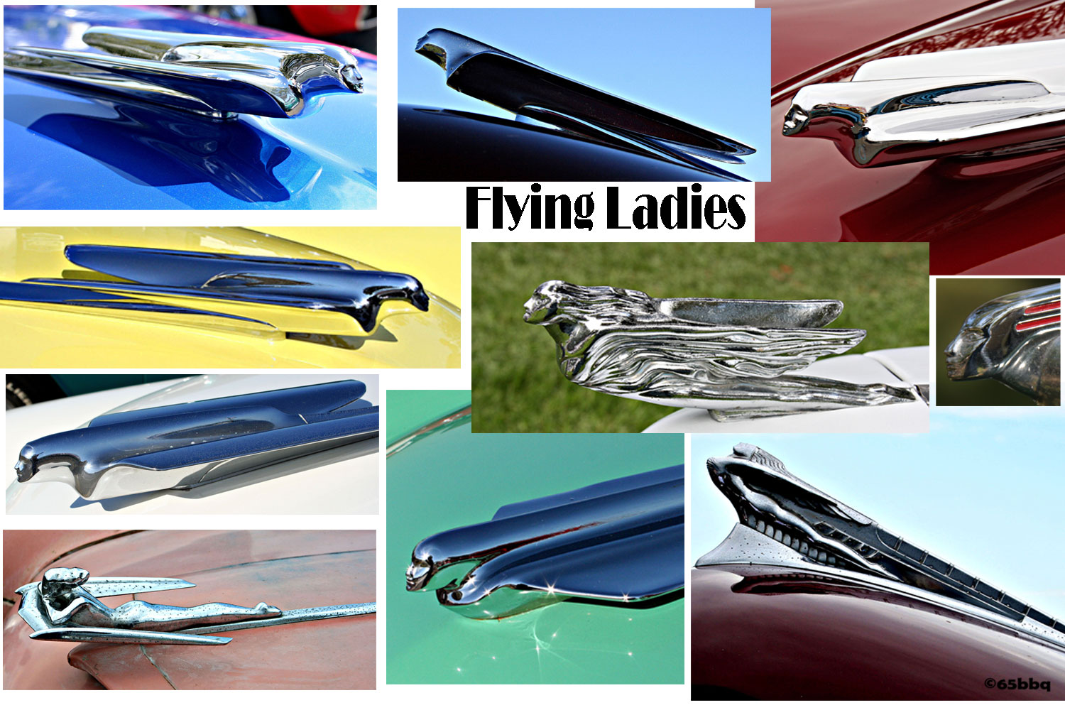 The flying ladies of the classic car show 65bbq