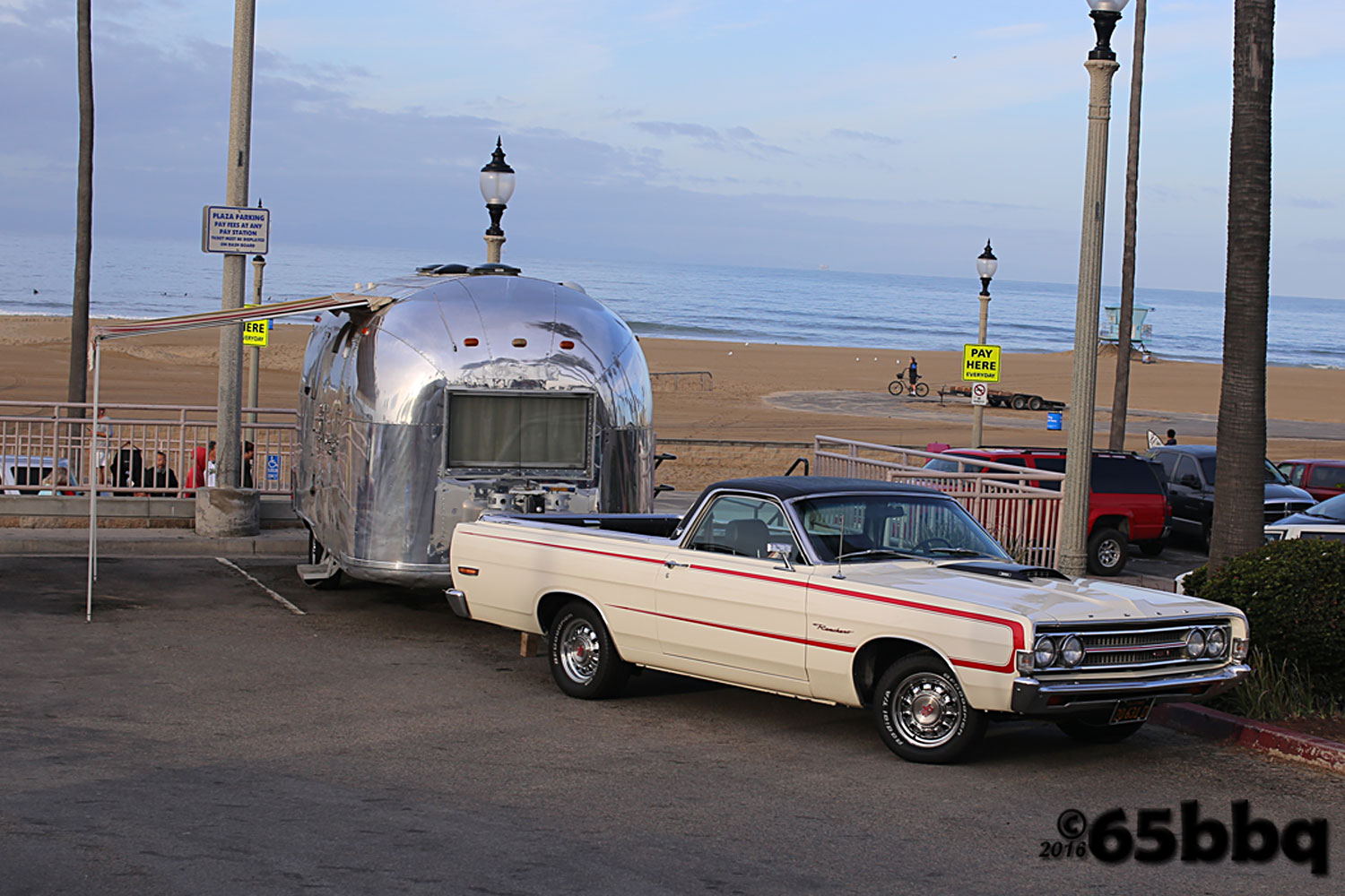Ford Ranchero with Vintage Airstream Trailer 65bbq