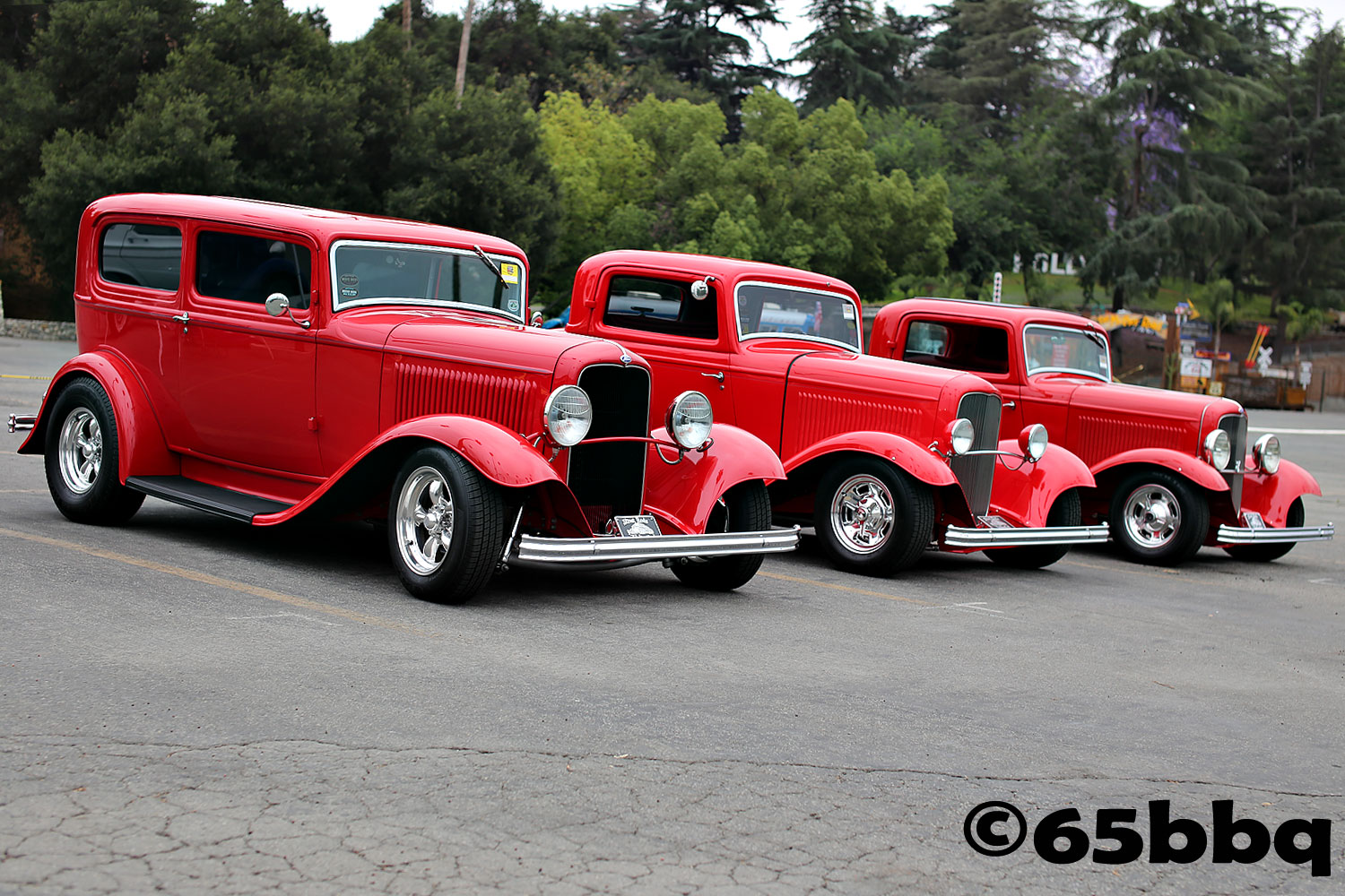 3 red rides from the LA Roadster car and swap meet 65bbq