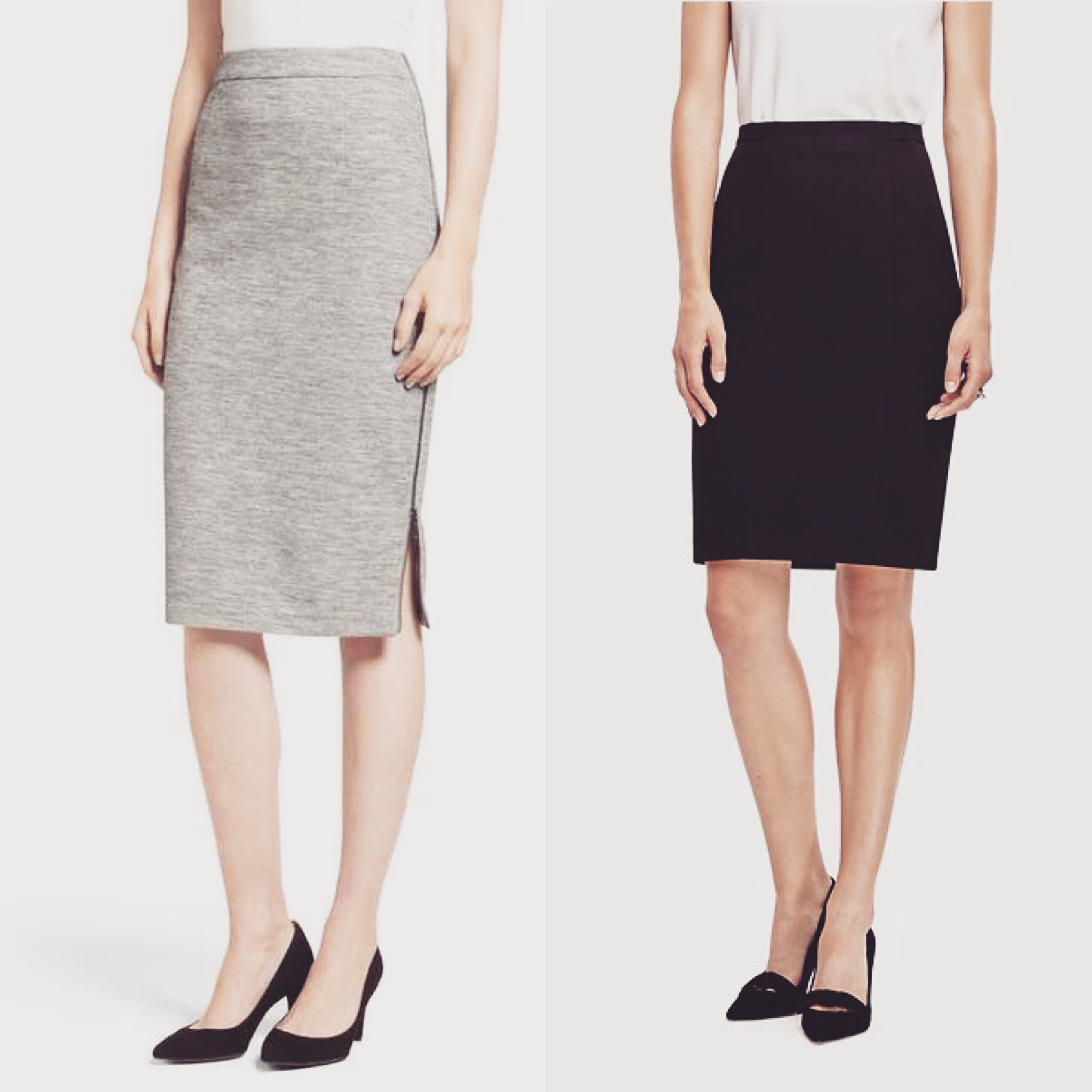 The  grey skirt  is Halogen from Nordstrom; the  black one  is All-Season Stretch Seamed from AT.