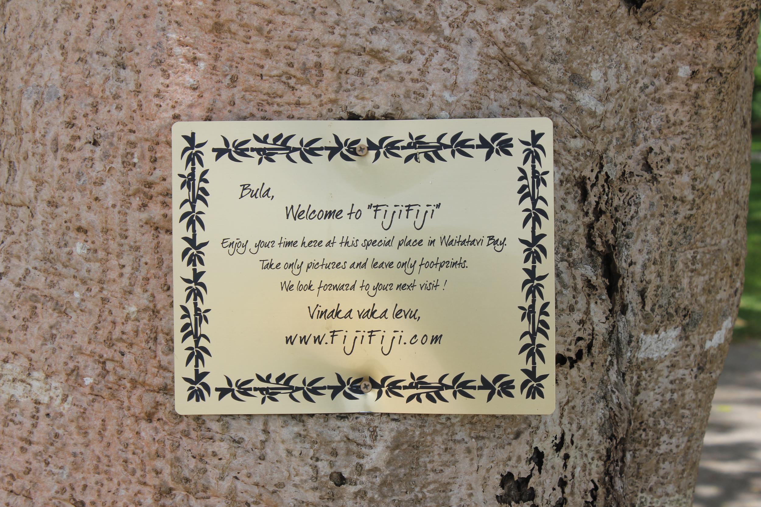 Sign at Waitatavi, greeting guests ...