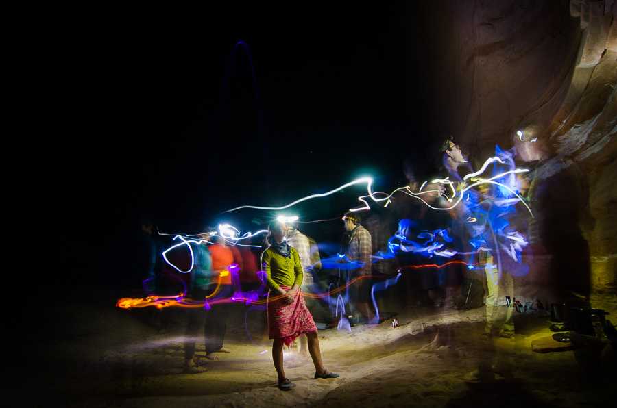 A playful self-portrait using headlamps and glow sticks in the desert southwest.