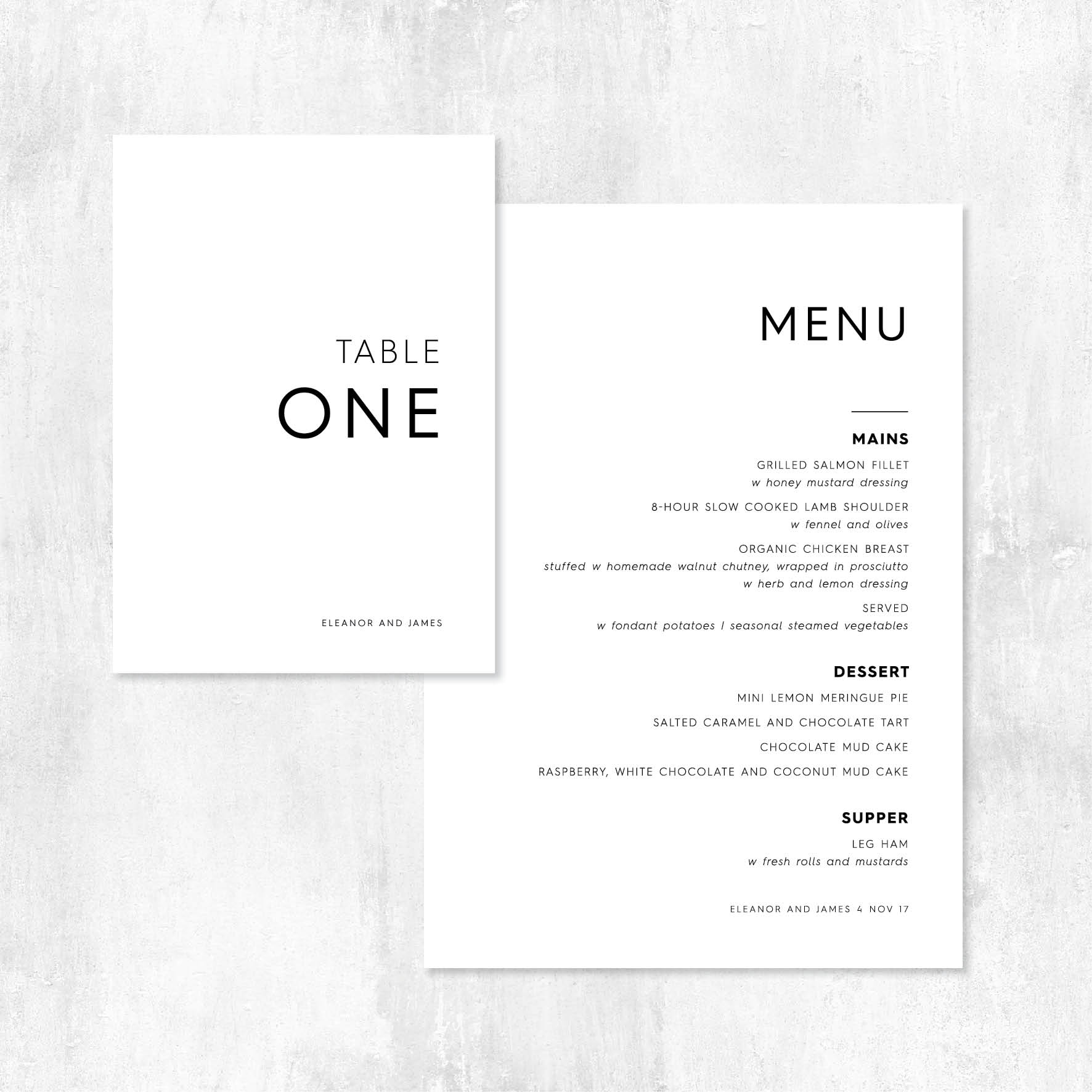 More than love on the day menu and table numbers