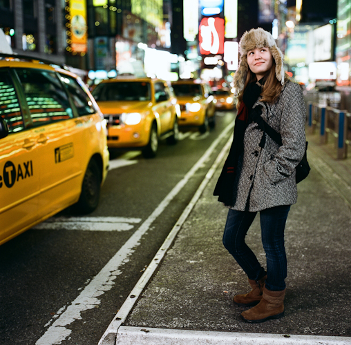 """Lauren in Times Square"" Kodak new Portra 400 shot @ 3200, 1 stop push!"