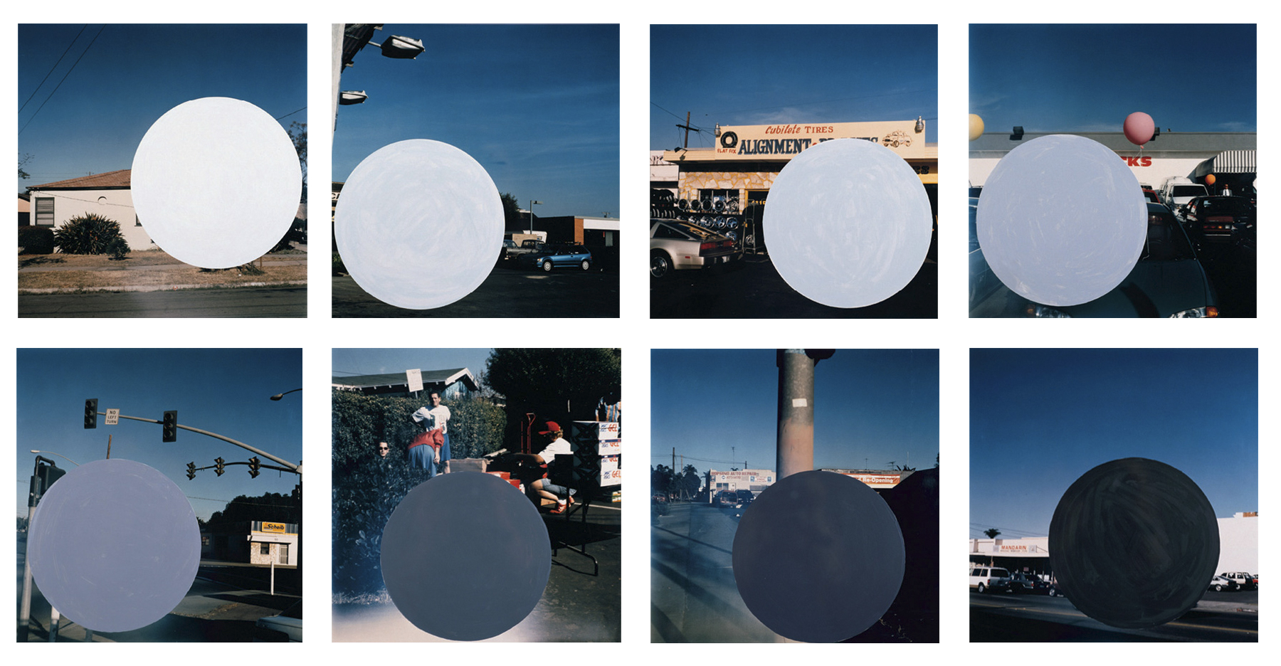 National City (w, 1, 2, 3, 4, 5, 6, B),  1996-2009 Color photographs with acrylic paint