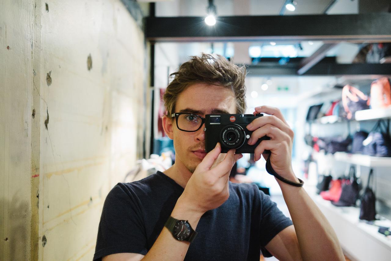 Mirror selfie at ISO 3200 using VSCO Kodak Portra 400 processing. See below for luminance noise.
