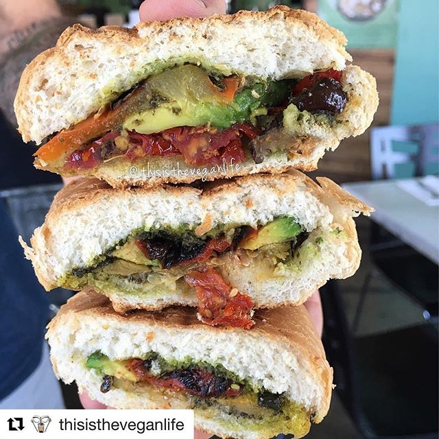 🍆 Grilled Vegetable Panini 🍞 😋 #myvegangold #whatveganseat #veganism #veganfoodshare #veganfood #vegetarian .... #Repost @thisistheveganlife with @repostapp ・・・ Stacked!  @myvegangold, @lifeofsymmetry ordered this grilled vegetable panini. He was also kind enough to to be the hand model.  #vegan #vegansofig #plantbased #veganfoodshare #TheVeganLaife