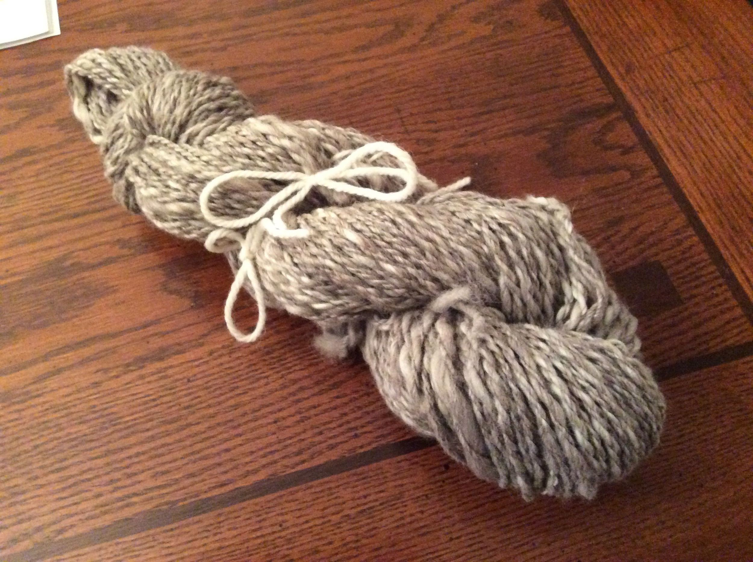 The finished yarn, but not yet washed. 136 yards of 70/30 2-ply alpaca/Merino yarn, in worsted weight.