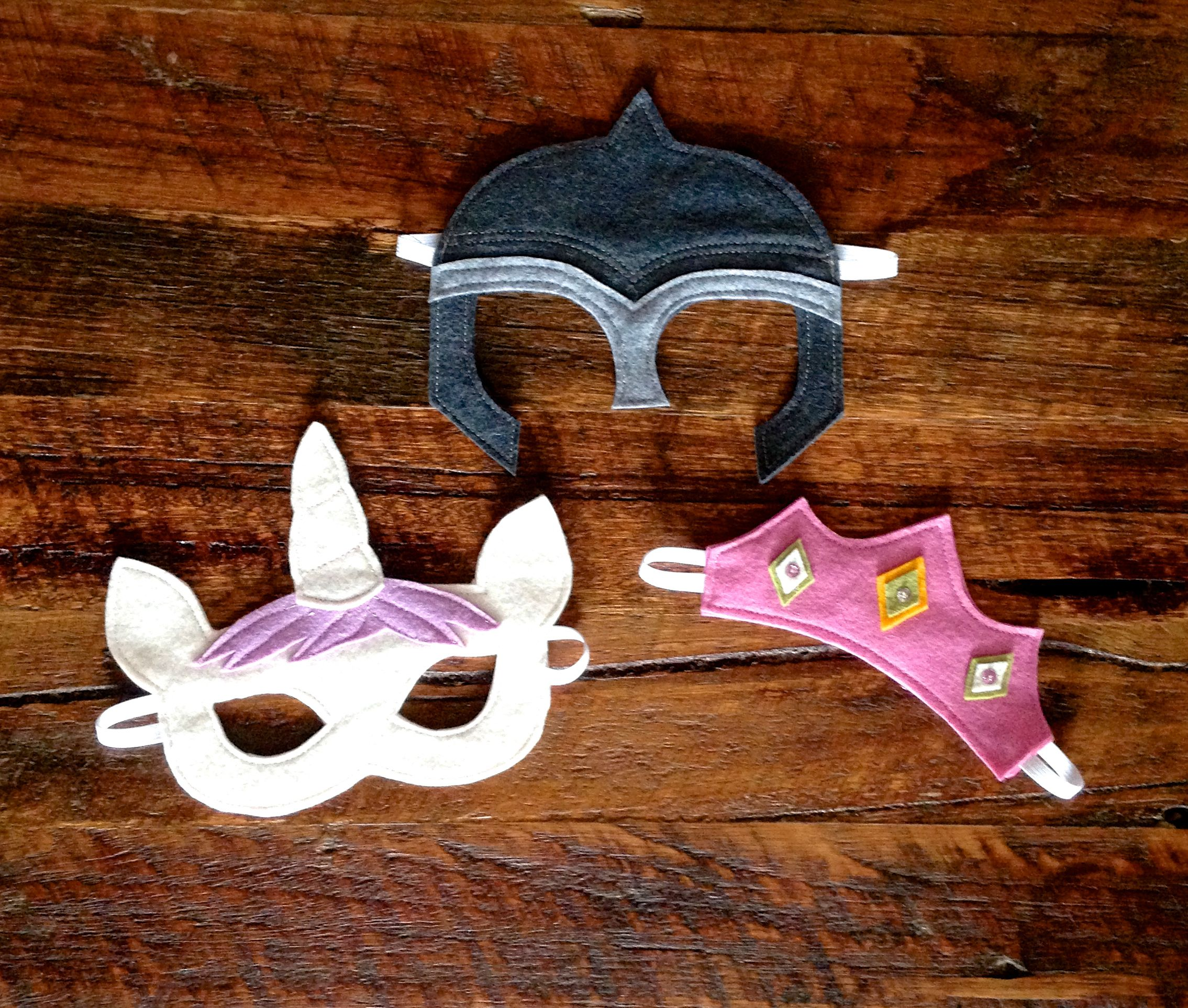 Unicorn, Knight and princess felt masks