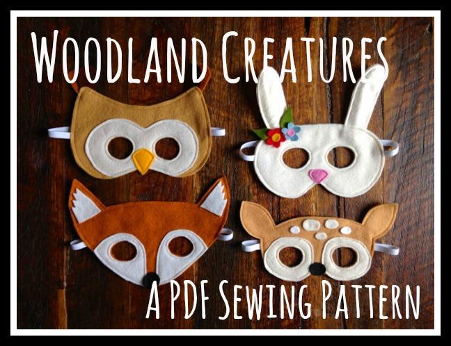 Woodland Creatures Felt Mask PDF Sewing Pattern