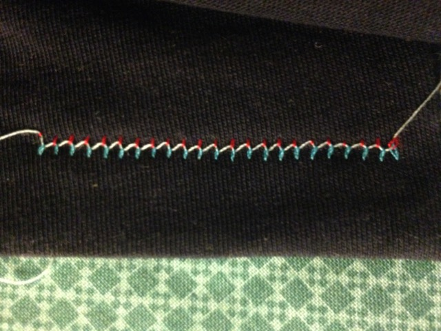 Twin needle hem wrong side