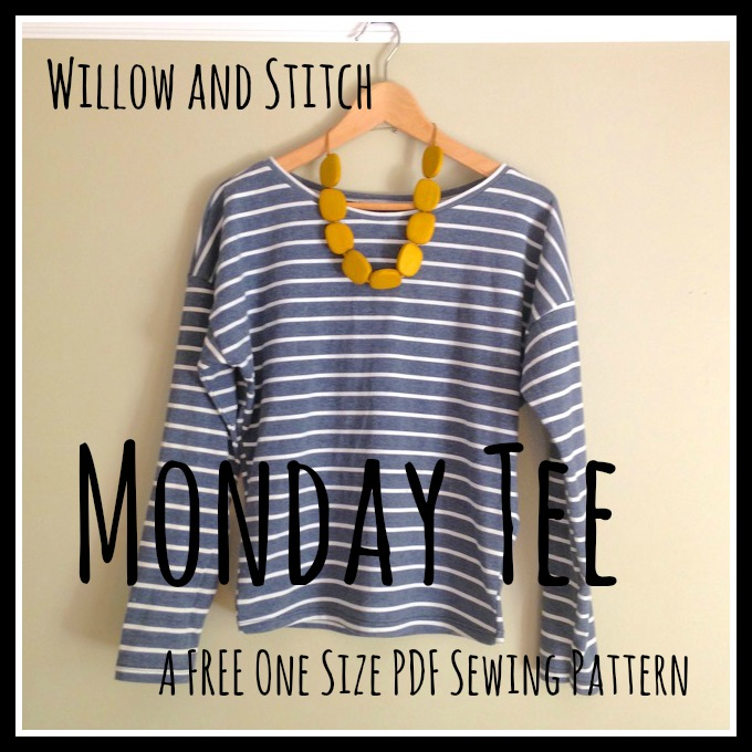 Willow and Stitch Monday Tee. A free one size PDF sewing pattern.