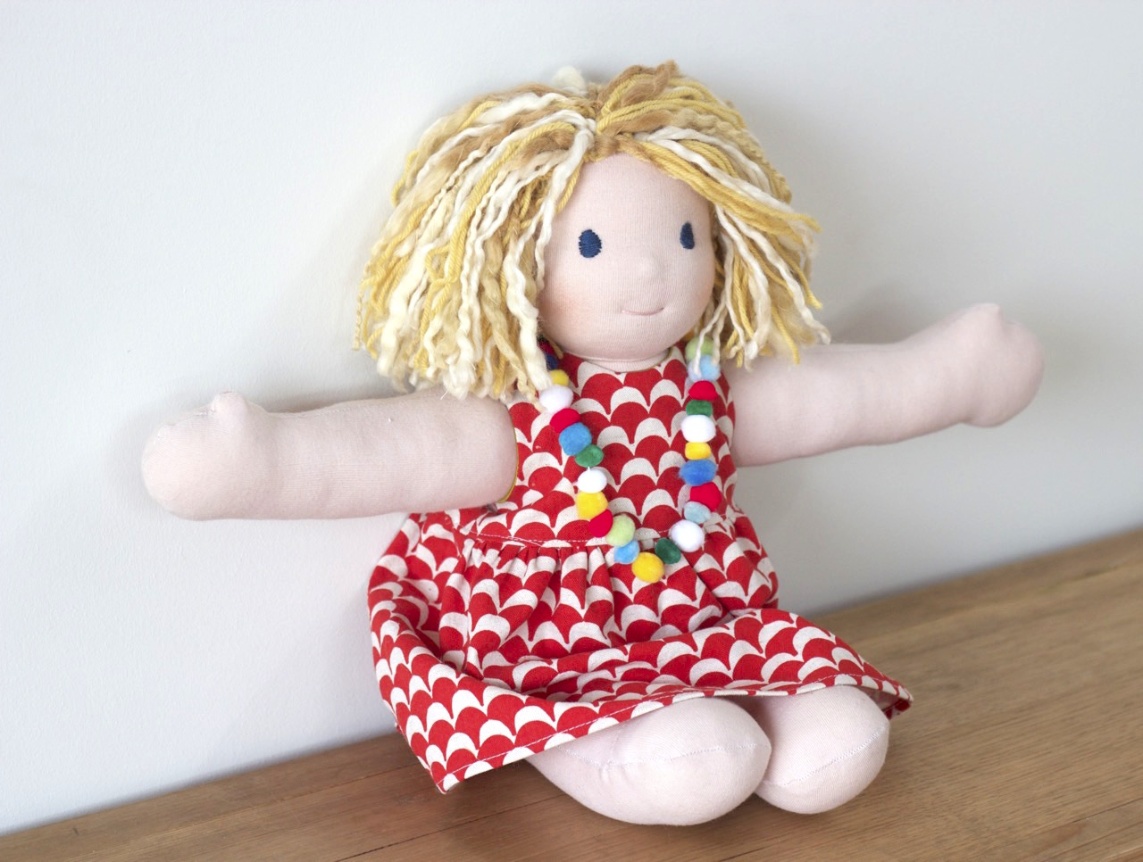 Little Amigo Doll in a mini Geranium Dress | Willow & Stitch