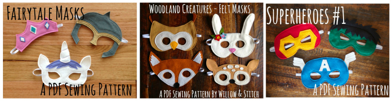 Fairytale Masks Felt PDF Sewing Pattern - Princess Tiara, Unicorn and Knight | Willow & Stitch
