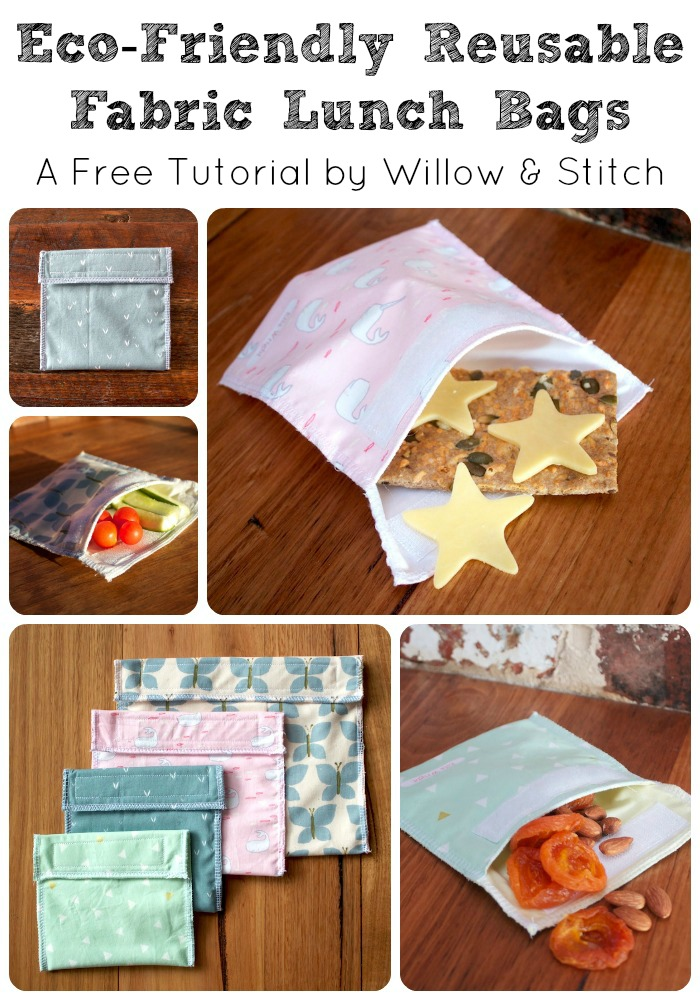 Eco-Friendly Reusable Fabric Lunch bags - a free tutorial from Willow & Stitch