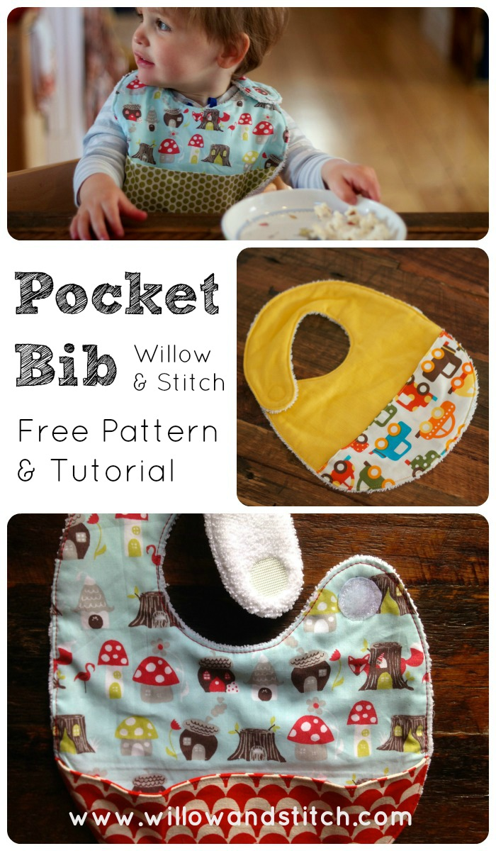 Feeding Bib with Pocket - A free Tutorial and Pattern from Willow and Stitch