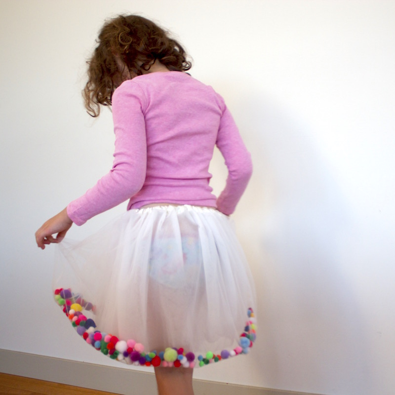 A pom pom filled Tutu for Kids Clothes Week by Willow & Stitch