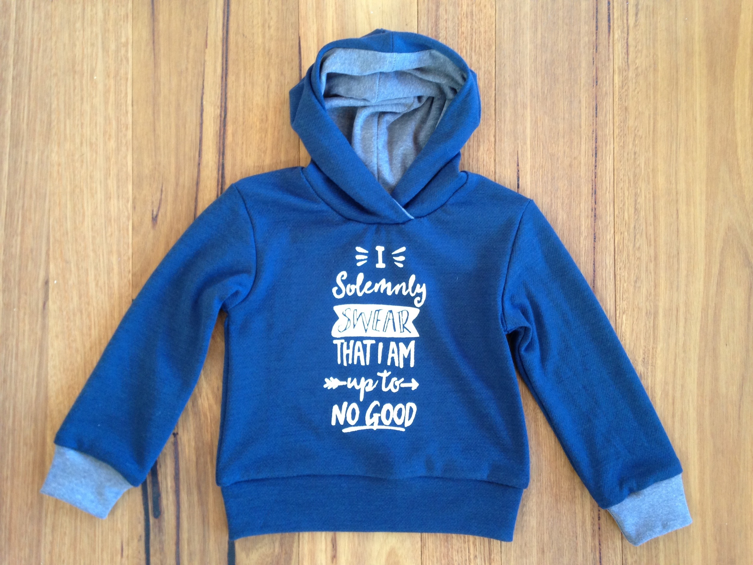 I solemnly swear I am up to no good hoodie - freezer paper stencilling